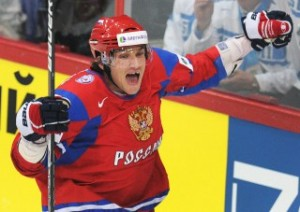 Russia's Alexander Ovechkin celebrates a